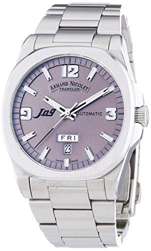 Armand Nicolet Unisex Automatik Armbanduhr mit grauem Zifferblatt Analog Anzeige und Silber Edelstahl Armband 9650 a gr m9650