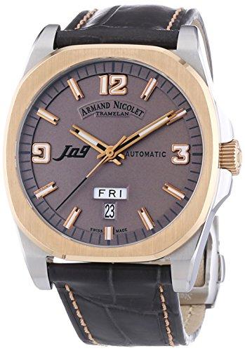 Armand Nicolet Unisex Automatik Uhr mit grauem Zifferblatt Analog Anzeige und grau Lederband 8650 a gs p965gs2