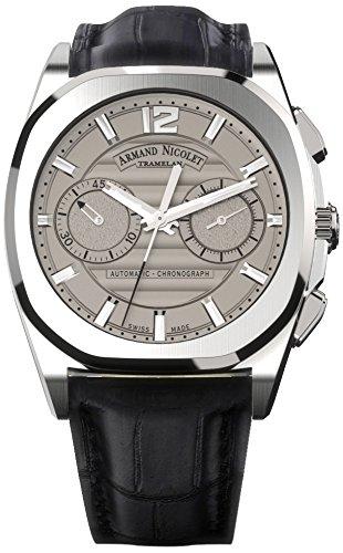 Armand Nicolet Unisex Automatik Uhr mit grau Zifferblatt Chronograph Anzeige und schwarz Lederband a654aaa gr pi4650na