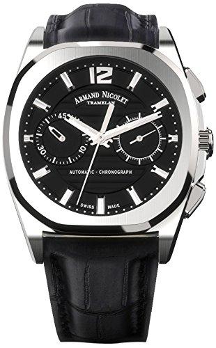 Armand Nicolet Unisex Automatik Uhr mit schwarzem Zifferblatt Chronograph Anzeige und schwarzes Lederband a654aaa nr pi4650na