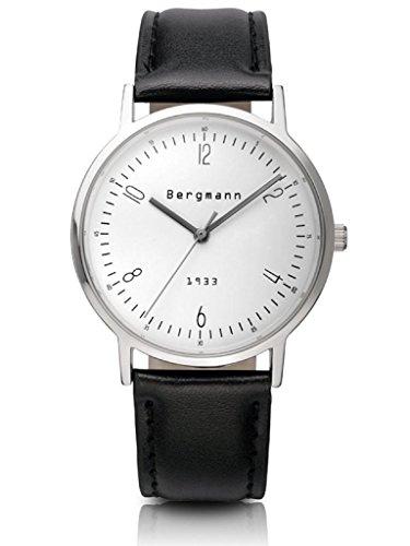 Bergmann Classic Armbanduhr Herren Weiss Zifferblatt schwarz echtem Leder Casual Armbanduhr Marke Authentic 1933