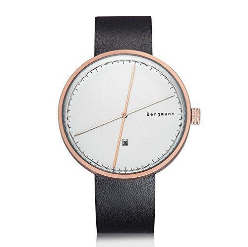 Bergmann Red Dot Award Top Mode Uhren Designer Gold Fall Weiss Zifferblatt schwarz Leder Datum