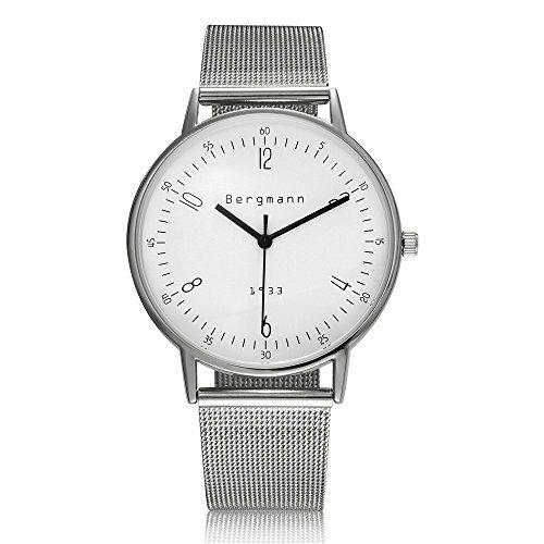 Bergmann Marke Vintage Uhren fuer Maenner 6 mm extra slim silber Fall Weiss Zifferblatt Edelstahl 1933