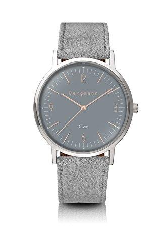 Bergmann Uhr Cor Grau Wildleder Quarz Leder Quarzuhr Edelstahlboden Bauhaus Modisch Elegant klassisch Design Zeitlos Unisex