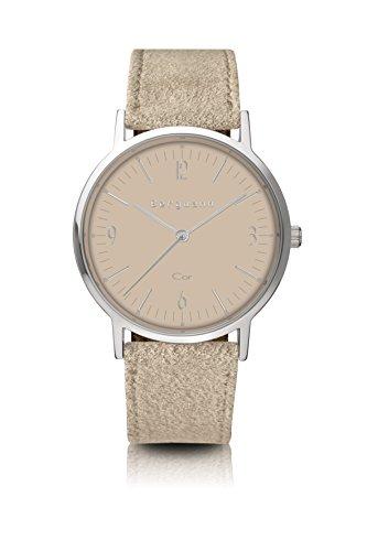 Bergmann Uhr Cor Sand Wildleder Quarz Leder Quarzuhr Edelstahlboden Bauhaus Modisch Elegant klassisch Design Zeitlos Unisex