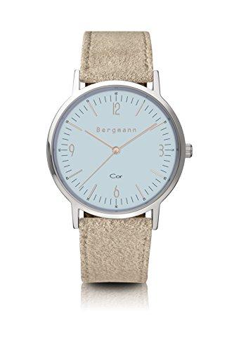Bergmann Uhr Cor Blau Wildleder Quarz Leder Quarzuhr Edelstahlboden Bauhaus Modisch Elegant klassisch Design Zeitlos Unisex