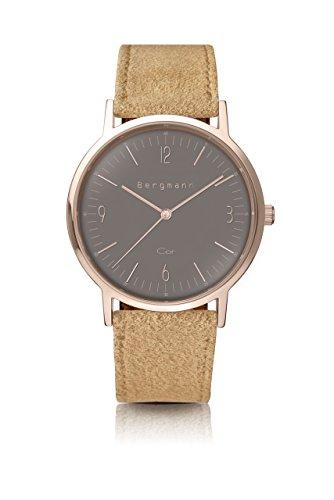 Bergmann Uhr Cor Copper Sand Wildleder Quarz Leder Quarzuhr Edelstahlboden Bauhaus Modisch Elegant klassisch Design Zeitlos Unisex