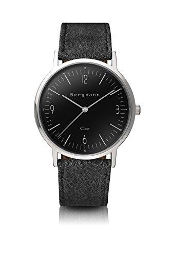 Bergmann Uhr Cor Schwarz Wildleder Quarz Leder Quarzuhr Edelstahlboden Bauhaus Modisch Elegant klassisch Design Zeitlos Unisex