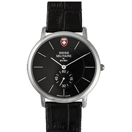 Swiss Militaire Classic Herren Armbanduhr 40mm Armband Leder Gehaeuse Edelstahl Schweizer Quarz 538AN