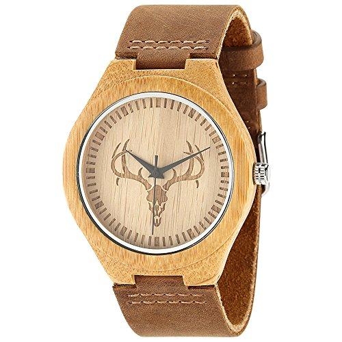 Wonbee Bambusholz Handgelenk Uhr mit natuerlichem Rindslederband und Hirschkopfdesign braun in Karton verpackt plus 2 Holz Armbaender
