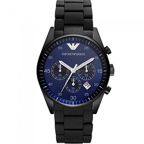 Herren EMPORIO ARMANI AR5921 schwarz Silikon Edelstahl Quarz Uhr