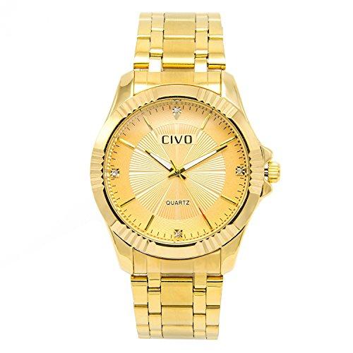 CIVO Herren Gold Edelstahl Band Armbanduhr Maenner Einfach Entwurf Klassisch Luxus Business Casual Uhr Maennlich Mode Elegant Zeitlos Minimalism Analog Quartz Uhren mit Uhrenarmband Entferner Werkzeug