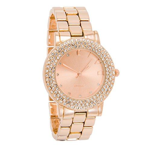 CIVO Damen Rot Gold Edelstahl Band Luxus Analog Quarz Uhren Frauen Business Casual Klassisch Zeitlos Einfach Classic Modisch Uhr Weiblich Kleid Mode Edle Armbanduhr mit Uhrenarmband Entferner Werkzeug