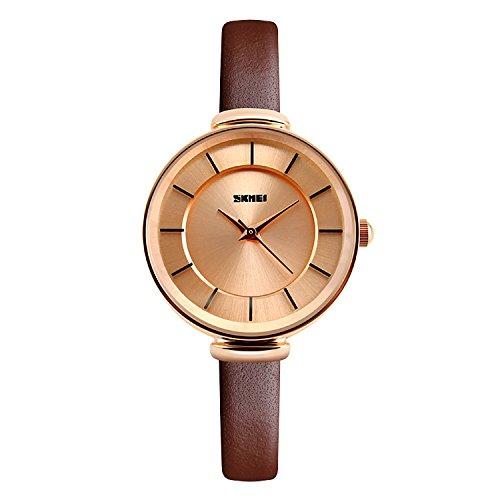 CIVO Damen Schlank Braun Echtes Lederband Luxus Analog Quarz Armbanduhr Frauen Casual Klassisch Zeitlos Einfach Classic Elegant Uhr Weiblich Kleid Modisch Mode Streamline fuer Damen Uhren Rot Gold