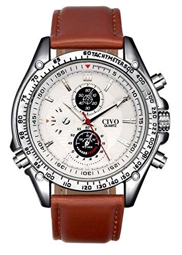 CIVO Herren Braun Lederband Japan Quarzwerk Uhr Business Edle Casual Business fuer Herren Klassisch Elegant Streamline Uhren Modisch Zeitloses Maenner Minimalism Analog Edelstahl Gehaeuse Armbanduhren