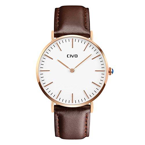 CIVO Herren Braun Lederband Analog Quarz Uhr Maenner Business Casual Wasserdichte Luxus Maennlich Zeitloses Einfaches Classic Design Armbanduhr Modisch Kleid Uhren Rot Golden Ton