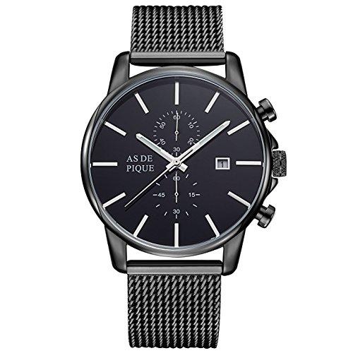 AS DE PIQUE Chrono Herren Luxus Armbanduhr Chronograph Mesh Stoppuhr Datum 50m Wasserdicht schwarz