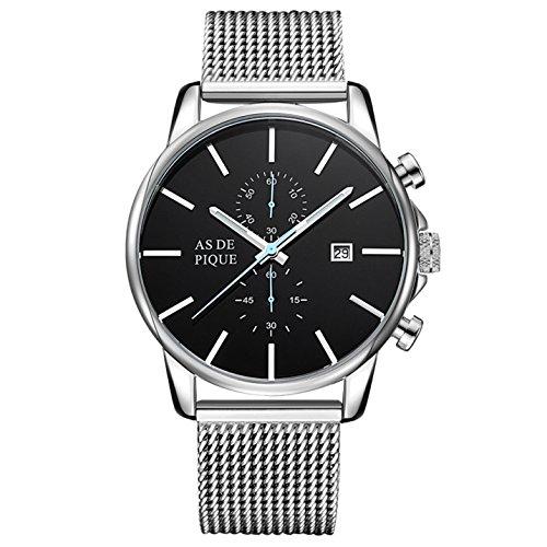 AS DE PIQUE Chrono Herren Luxus Armbanduhr Chronograph Mesh Stoppuhr Datum 50m Wasserdicht silber blau