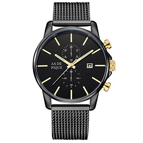 AS DE PIQUE Chrono Herren Luxus Armbanduhr Chronograph Stoppuhr Datum 50m Wasserdicht schwarz gold