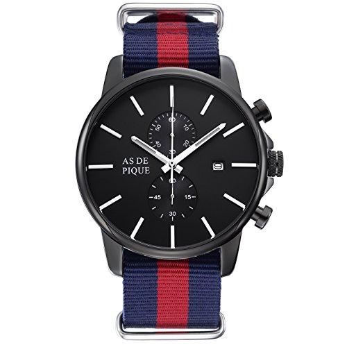 AS DE PIQUE Chrono Herren Luxus Armbanduhr Chronograph Nato Stoff Stoppuhr Datum 50m Wasserdicht schwarz blau rot