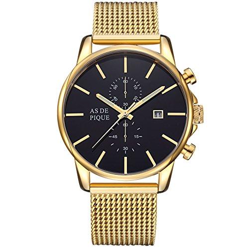 AS DE PIQUE Chrono Herren Luxus Armbanduhr Chronograph Stoppuhr 50m Wasserdicht mesh gold