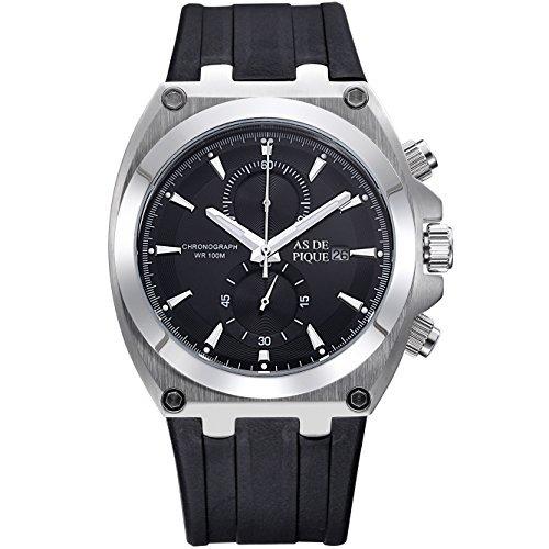 AS DE PIQUE King Herren Luxus Armbanduhr Chronograph Kautschuk Stoppuhr Datum 100m Wasserdicht silber