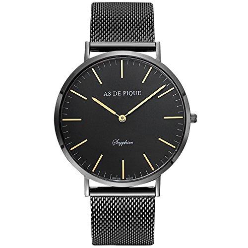 AS DE PIQUE Classic Luxus Armbanduhr schweizer Uhrwerk kratzfestes Saphirglas Mesharmband schwarz gold