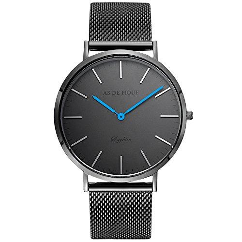 AS DE PIQUE Classic Luxus Armbanduhr schweizer Uhrwerk kratzfestes Saphirglas Mesharmband schwarz blaue Zeiger