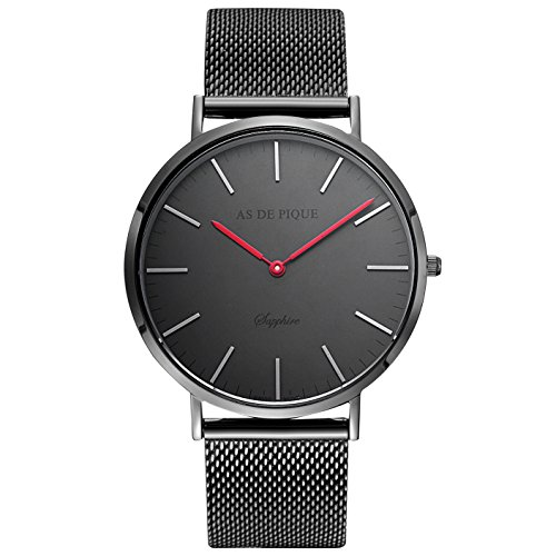 AS DE PIQUE Classic Luxus Armbanduhr schweizer Uhrwerk kratzfestes Saphirglas Mesharmband schwarz rote Zeiger
