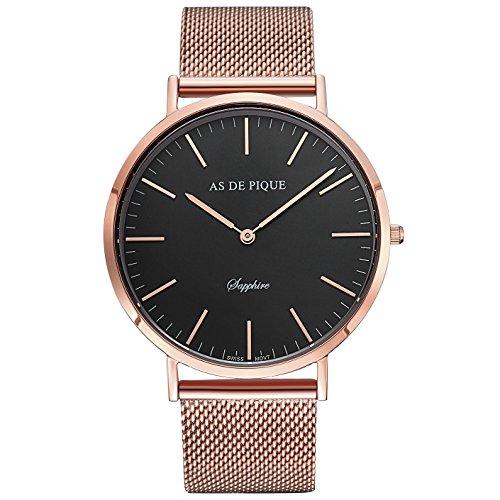 AS DE PIQUE Classic Luxus Armbanduhr schweizer Uhrwerk kratzfestes Saphirglas Mesharmband rosegold