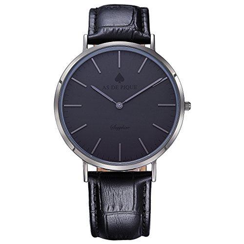 AS DE PIQUE Classic Luxus Armbanduhr Schweizer Uhrwerk Saphirglas Echtleder schwarz