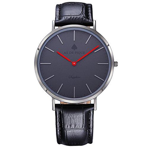 AS DE PIQUE Classic Luxus Armbanduhr Schweizer Uhrwerk Saphirglas Echtleder schwarz rot