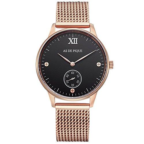 AS DE PIQUE Simple XII Unisex Armbanduhr Sekundenanzeige Schrauben 50m wasserdicht mesh rosegold