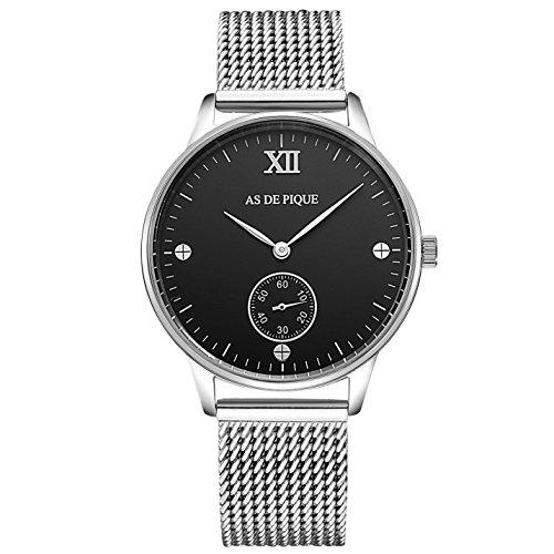 AS DE PIQUE Simple XII Unisex Armbanduhr Sekundenanzeige Schrauben 50m wasserdicht mesh silber