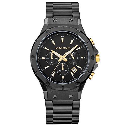 AS DE PIQUE Master Quarzuhr Chronograph Datum Stoppuhr 100 Meter waserdicht schwarz gold