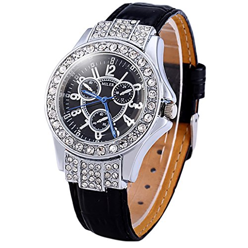 Frauen Armbanduhr Lederuhr Analog Quarz Uhr Leder Armband Kuenstlicher Diamant Stil Schwarz