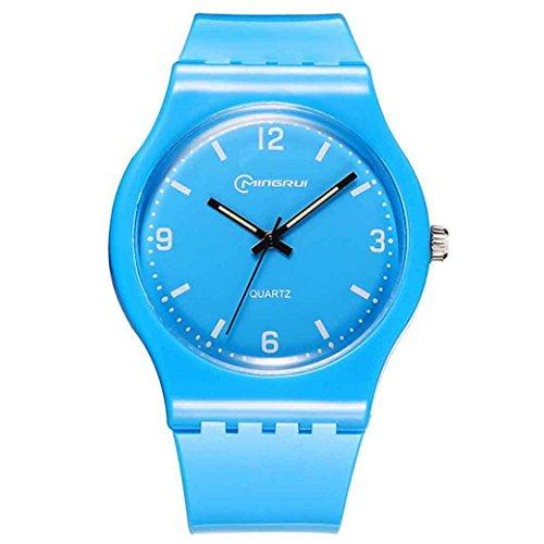 Feoya Kinder Maedchen Uhr Alltagsleben Wasserdichte Armbanduhr Kids Uhren Elekronische Quarzuhr PU Uhrband Kinderarmbanduhr Quartz Watch Groesse L Blau
