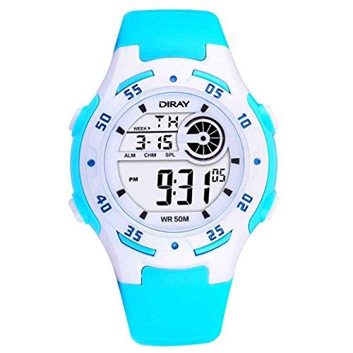 Feoya Kinder Unisex Maedchen Uhr Sport Alltagsleben Wasserdichte Kids Uhren Elekronische Digitaluhr Kinderarmbanduhr Digital Watch Hellblau
