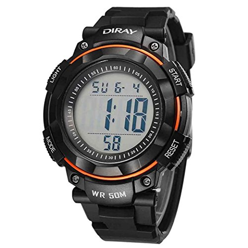 Feoya Studenten Jungen Uhr Luminous Sport Armbanduhr Alltagsleben Wasserdichte Schueler Uhren Elekronische Digitaluhr Students Digital Watch Orange