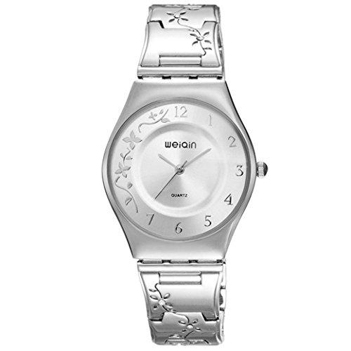 Feoya Elegant Frauen Armbanduhr Blumenmuster Legierung Armband Uhren Quarzuhr Klein mit Uhrenbox Wrist Watch Weiss Zifferblatt Silber Uhrband