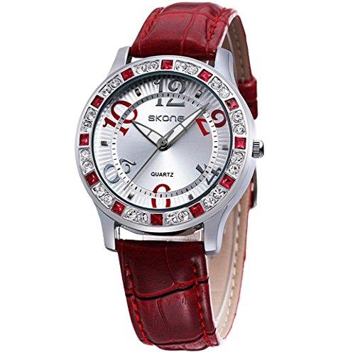 Feoya Damen Uhr Modern Frauen Armbanduhr mit Kunstliche Diamant Lebens Wasserdicht Lederarmband Uhren Klein Quarzuhr Damenuhr mit Uhrenbox Wrist Watch Rot