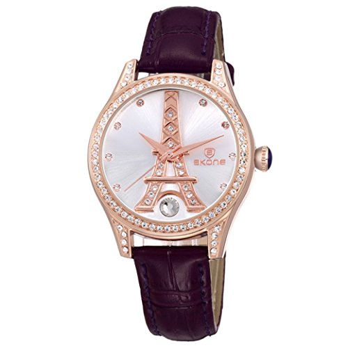 Feoya Damen Uhr Business Armbanduhr Lebens Wasserdicht Leder Armband Uhren Eiffelturm Mode Quarzuhr mit Kunstliche Diamant Damenuhr Uhrenbox Wrist Watch Gold Zifferblatt Lila Uhrband