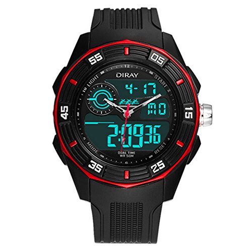 Feoya Elekronische Outdoor Sport Armbanduhr Alltagsleben Wasserdichte Maenner Uhren LED Digitaluhr Men Digital Watch Rot