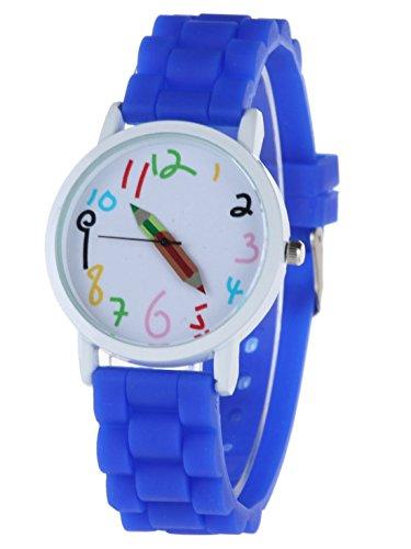 Feoya Groesses Zifferblatt Armbanduhr Silkon Band Uhren fuer Kinder Zuckerfarbe Dunkelblau