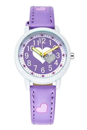Feoya Herz Form Armbanduhr suesser Stil Wasserdicht Leder Analog Uhren fuer Maedchen Lila
