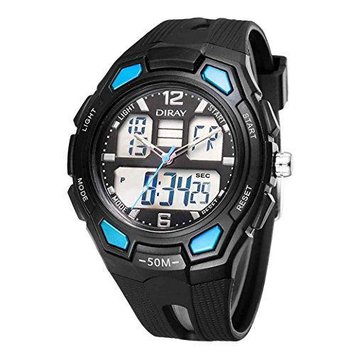 Feoya Multifunktions Sport Armbanduhr Alltagsleben Wasserdichte Maenner Uhren LED Elekronische Digitaluhr Men Digital Watch Hellblau