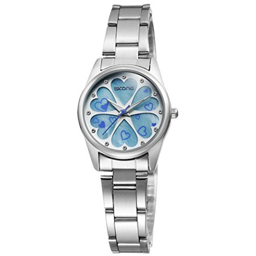 Feoya Damen Uhr Klein Studenten Armbanduhr Legierung Armband Uhren Herzform Muster Quarzuhr Einfach Stil Damenuhr Uhrenbox Student Wrist Watch B