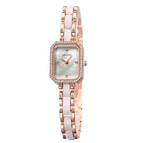 Feoya Studenten Uhr Lebens Wasserdicht Damen Armbanduhr Legierung Armband Uhren Quarzuhr mit Kunstliche Diamant Damenuhr Uhrenbox Student Wrist Watch Weiss Zifferblatt Gold Uhrband