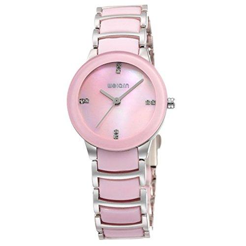 Feoya Studenten Uhr Lebens Wasserdicht Legierung Armband Uhren Quarzuhr mit Zirkon mit Uhrenbox Students Wrist Watch Rosa