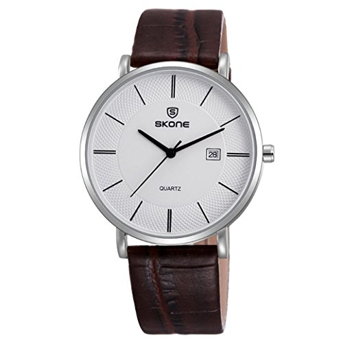 Feoya Lebens Wasserdicht Business Armbanduhr Leder Armband Uhren Quarzuhr Einfach Stil mit Uhrenbox Wrist Watches Silber Zifferblatt Braun Uhrband